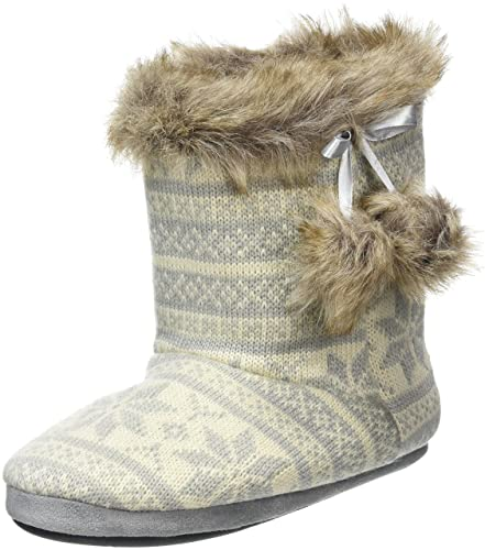Ladies Knitted Fairisle Lined Bootie Slippers With Cosy Faux Fur Trim &Amp; Pompoms JJ_1227
