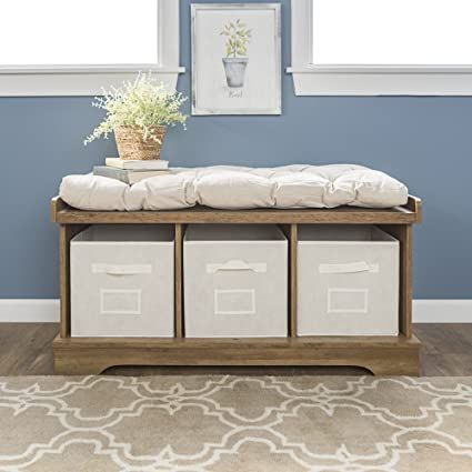 Superieur New 42 Inch Wide Storage Bench With Totes And Cushion   Rustic Oak Color