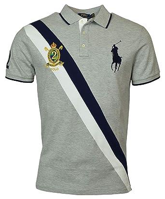 ff2c71bd Polo Ralph Lauren Mens Big Pony Custom Slim Fit Three Button Crest Polo at Amazon  Men's Clothing store: