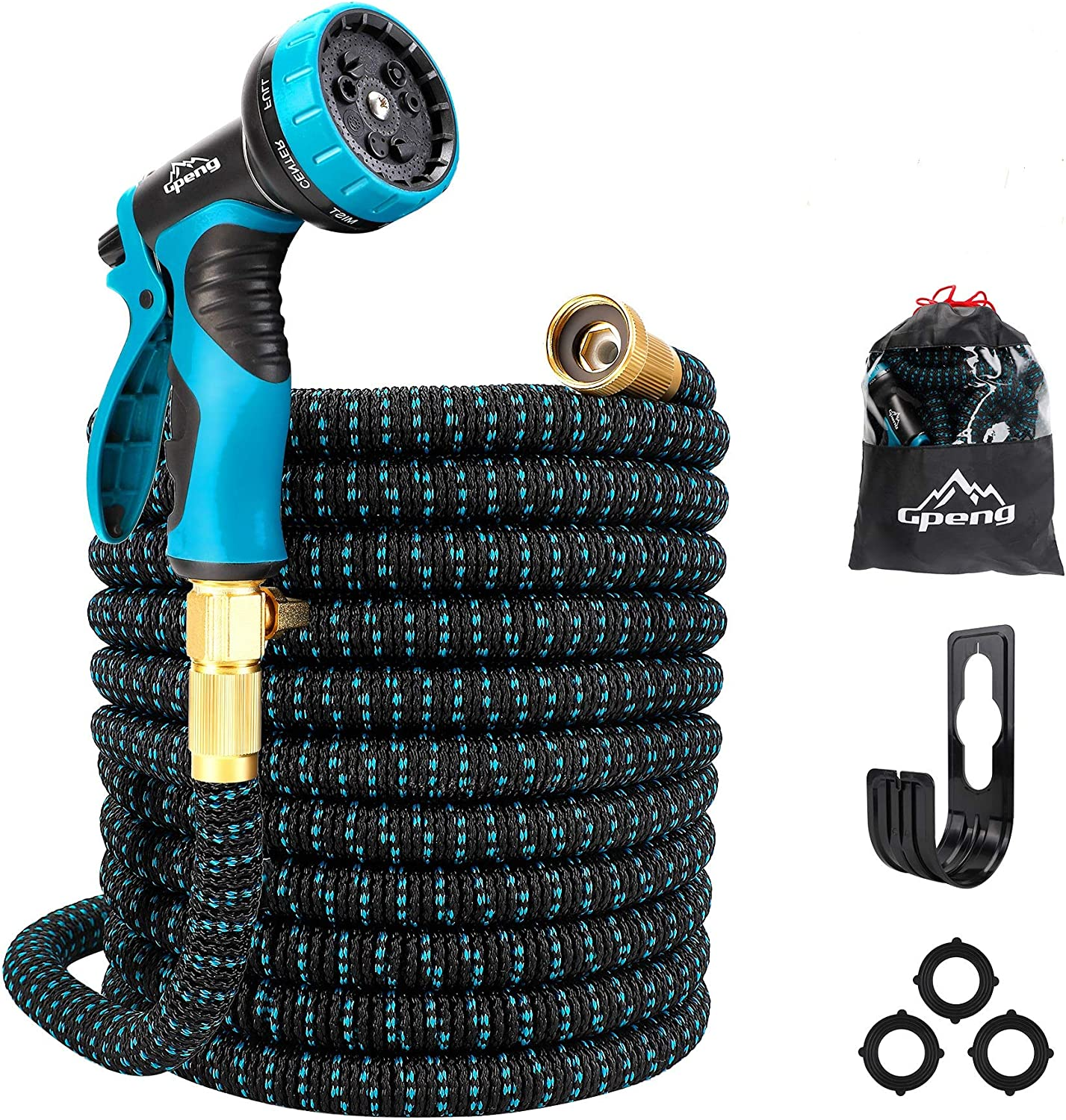 """Gpeng 100ft Expandable Garden Hose, Water Collapsible Hose with 9 Function Spray Nozzle, Durable 3-Layers Latex Core with 3/4"""" Solid Brass Fittings, Lightweight Expanding Flexible Hose"""