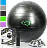 Exercise Ball -Professional Grade Exercise Equipment Anti Burst Tested with Hand Pump- Supports 2200lbs- Includes Workout Guide Access- 55cm/65cm/75cm/85cm Balance Balls