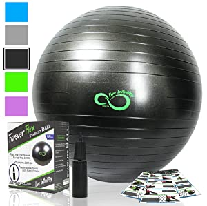 Live Infinitely Exercise Ball (55cm-95cm) Extra Thick Professional Grade Balance & Stability Ball- Anti Burst Tested Supports 2200lbs- Includes Hand Pump & Workout Guide Access