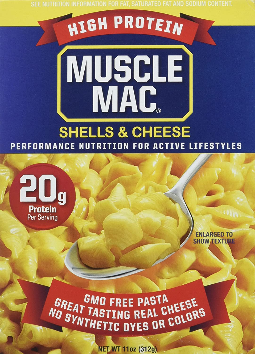 Muscle Mac | Shells & Cheese Pasta For All Ages, 20 Grams Of Protein Per Serving, Real Cheese, Non-GMO, (12 Boxes)