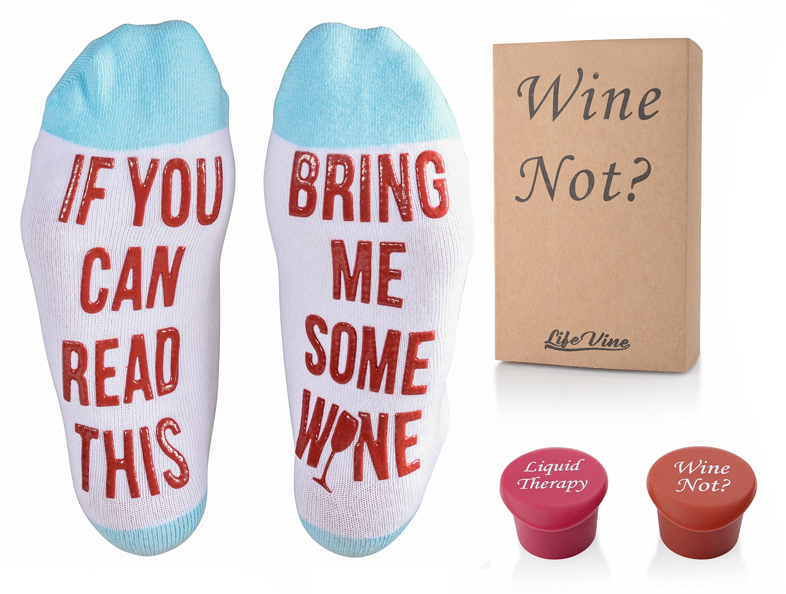 Luxury If You Can Read This Bring Me Some Wine Socks with Silicon Wine Stoppers in Gift Box Set Funny Accessory for Women, Wife, Wine Lover, Birthday, Housewarmings, Mother's Day