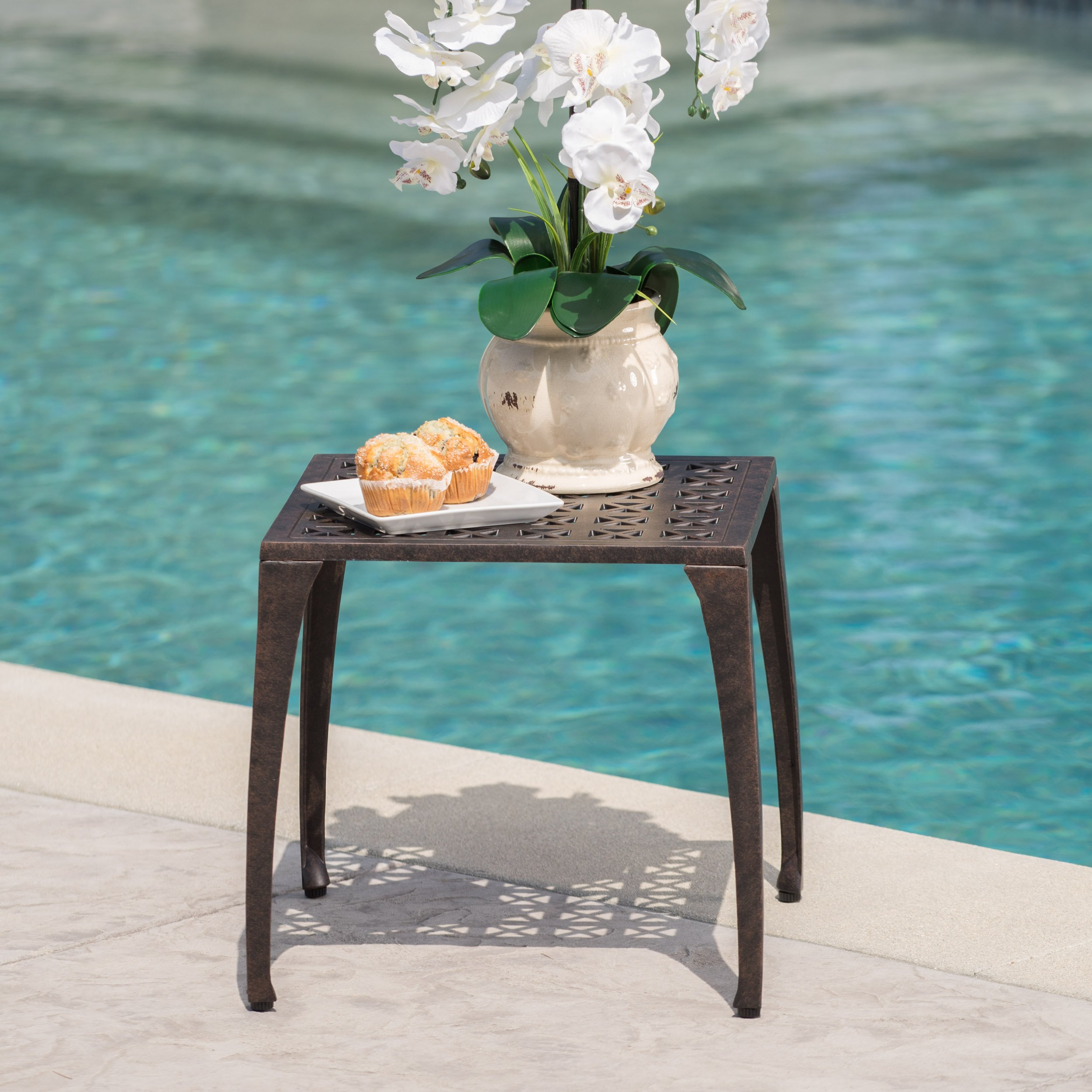 Kata Outdoor 18 Bronze Finished Cast Aluminum Side Table by Christopher Knight Home