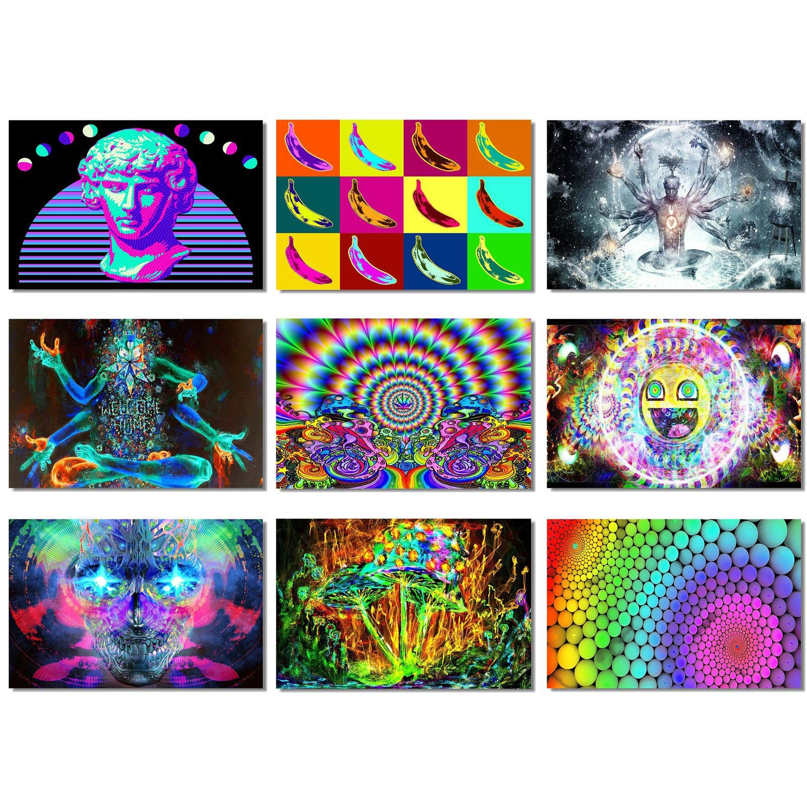 """9x Fabric Poster Psychedelic Trippy Colorful Trippy Surreal Abstract Astral Digital Wall Art Prints 20x13"""" (50x33cm) (1-9)(Not Blacklight)"""
