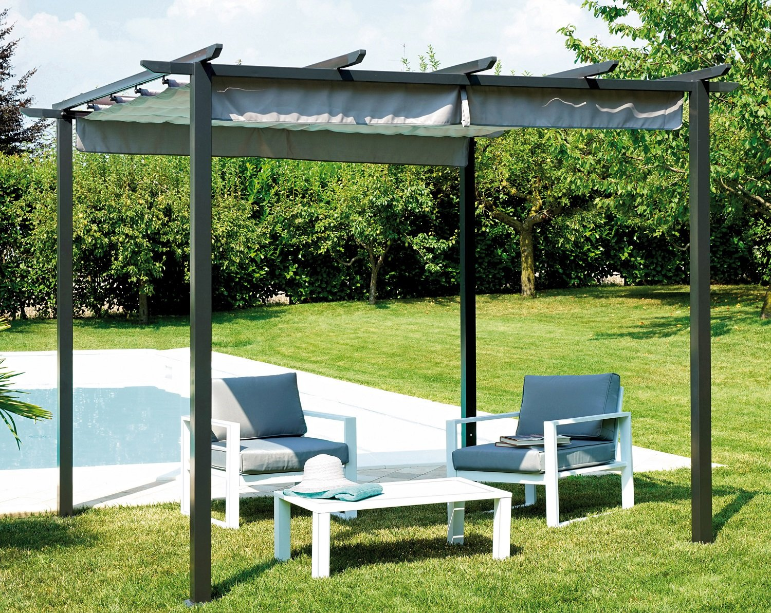 m bel garten gaz503 pavillon eisen pergola mit dach schiebet r 3 x 3 mt g nstig kaufen. Black Bedroom Furniture Sets. Home Design Ideas