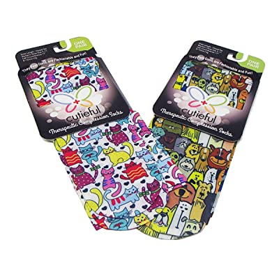 Cutiefuls Therapeutic Compression Socks - Dapper Dogs AND Colorful Cats designs, Womens Shoe Sizes 5-11 Graduated 8-15 mmHg at Women's Clothing store