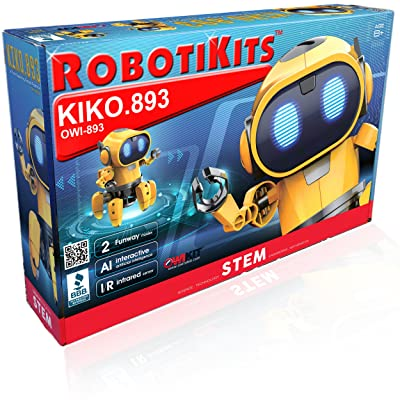 OWI Kiko.893 Interactive A/I Capable Robot with Infrared Sensor Two Play Modes | Follow Me Or Explore Develops Own Emotions and Gestures Sound and Lighting Effects | DIY Robot 9OWI893: Toys & Games