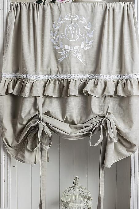 Mathilde capuchino Blanco bordado cortina 100 x 120 cm Cortinas ...