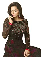 Yashraj Export Women's Georgette And Art Silk Anarkali Suit with Matching Bottom, Inner and Duppta(YERF-21310)