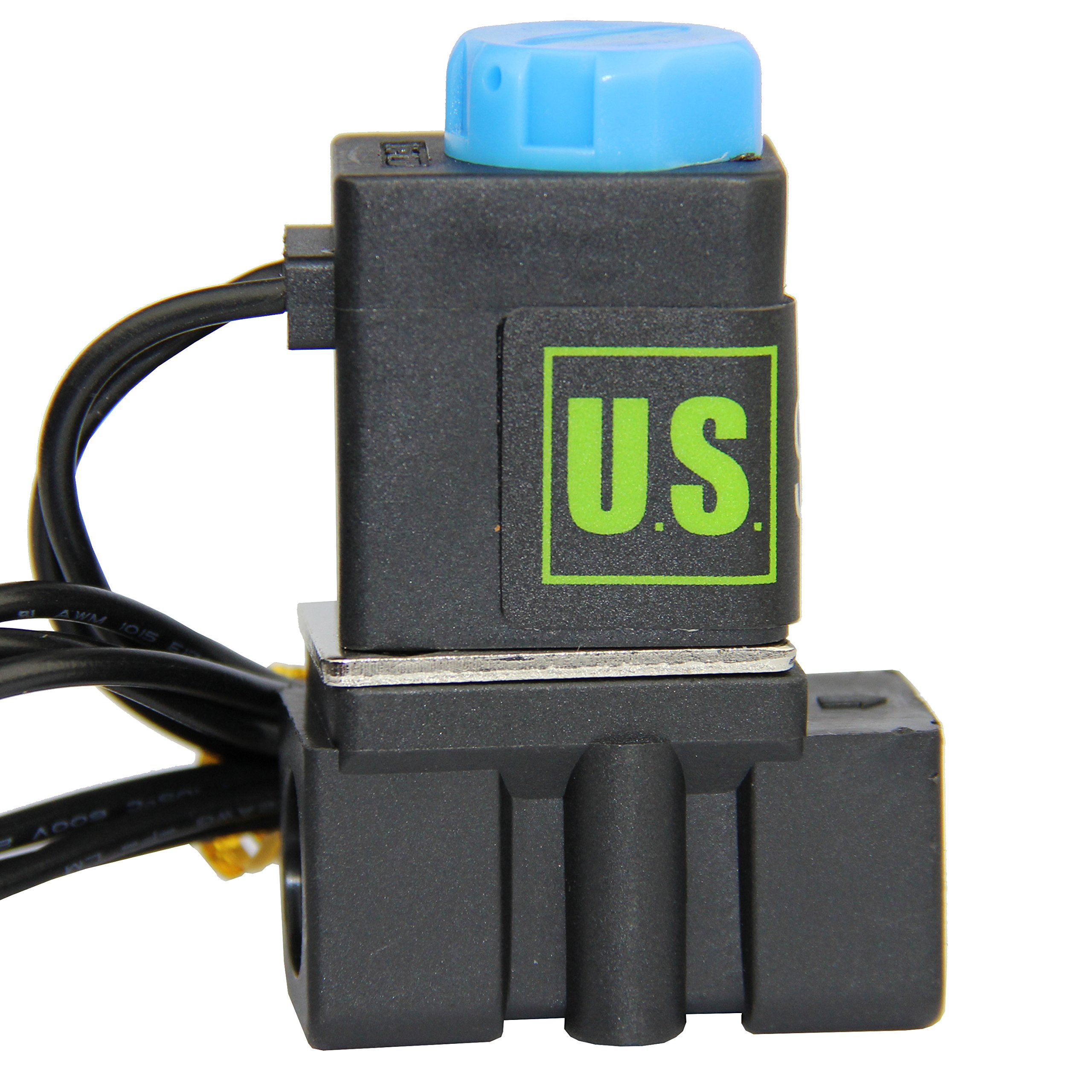 -NEW- Solenoid Valve 1/4'' Normally Closed (N.C.) 12VDC Nylon (NEW Improved Crack-resistant Polymer) Blue Cap by U.S. Solid by U.S. Solid (Image #3)