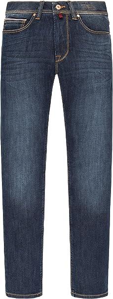 Pierre Cardin Herren Jeans Hose Stretch Used-look gerade Form 5-Pocket blau Mode