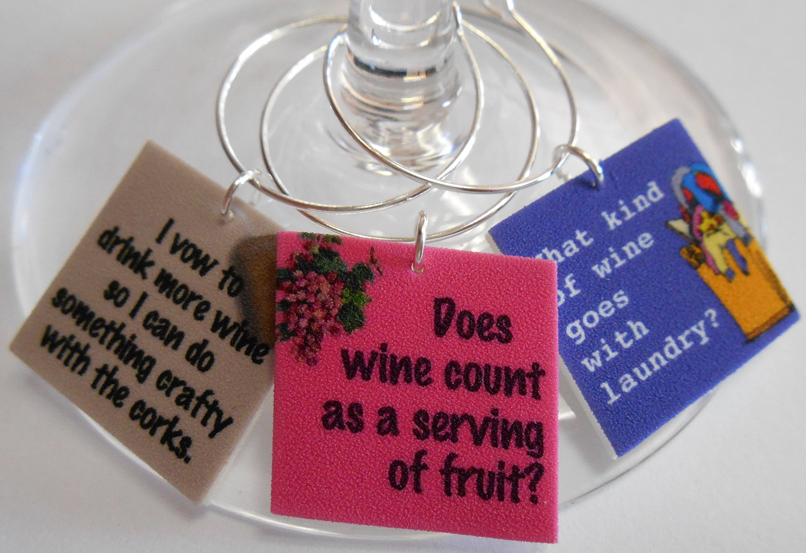 Set of 12 Funny Wine Quotes Wine Glass Charms by FortySevenGems