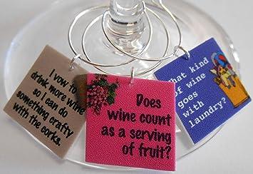 Amazon Com Set Of 12 Funny Wine Quotes Wine Glass Charms Wine
