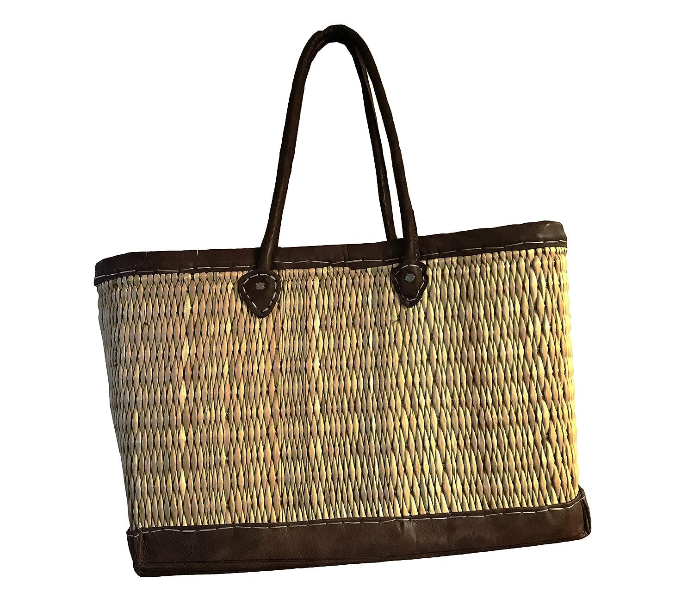 Amazon.com: Marruecos paja natural & Brown piel cesta de la ...