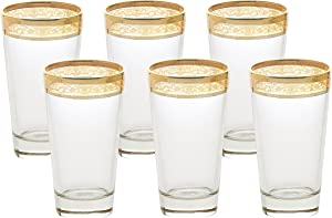 Lorren Home Trends High Ball Melania Collection Glass, Set of 6, Amber