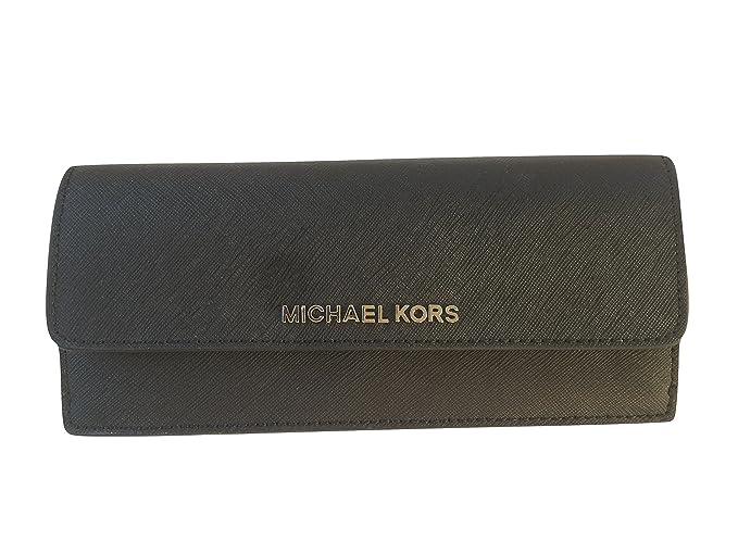 90afb594c05 ... cheapest michael kors jet set travel flat saffiano leather wallet black  pearl grey 6511c acc52