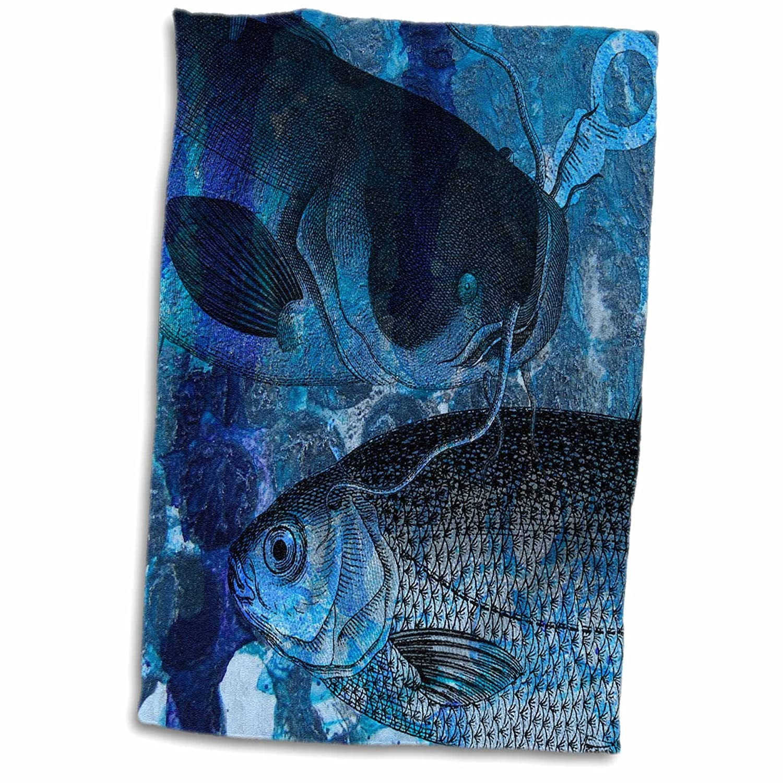 3D Rose TWL/_245666/_1 Fishing Blues Towel 15 x 22
