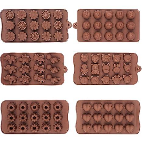 6 unidades de silicona antiadherente Chocolate, Gelatina Y Candy Mold, 15 cavidades cada,