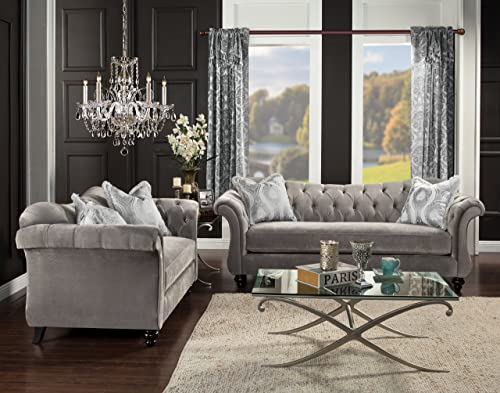 Furniture of America 2 Piece Ivorah Glamorous Sofa Set, Dolphin Gray
