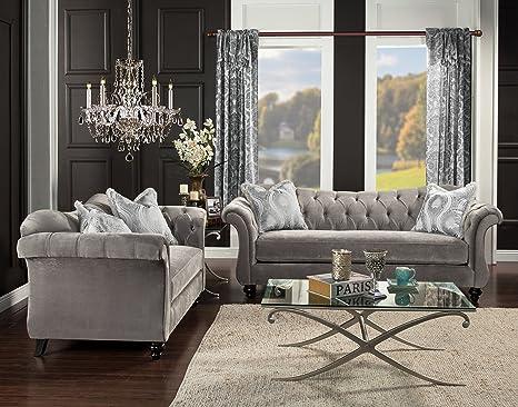 Awe Inspiring Furniture Of America 2 Piece Ivorah Glamorous Sofa Set Dolphin Gray Creativecarmelina Interior Chair Design Creativecarmelinacom