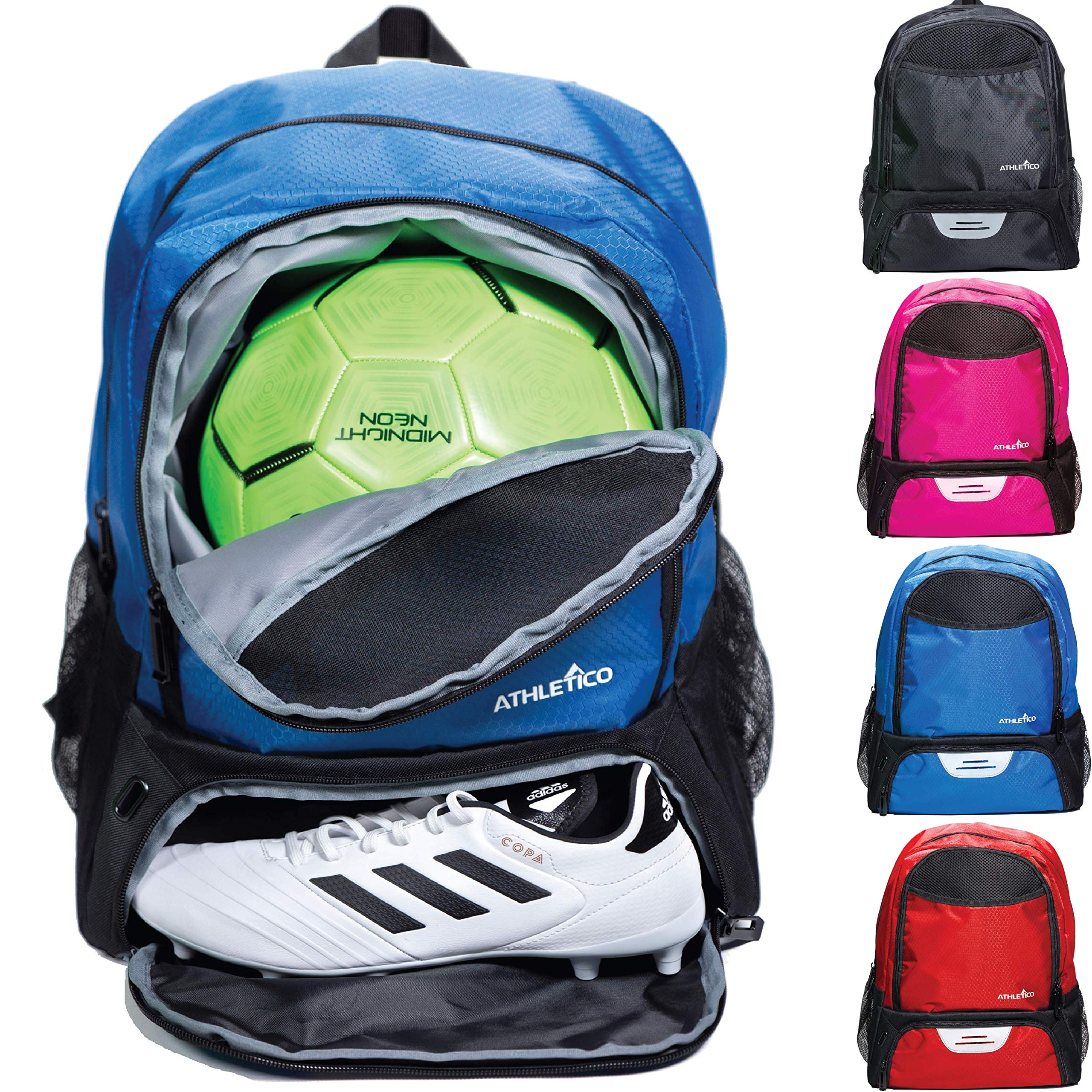 Athletico Youth Soccer Bag - Soccer Backpack & Bags for Basketball, Volleyball & Football   Includes Separate Cleat and Ball Compartments (Blue) by Athletico