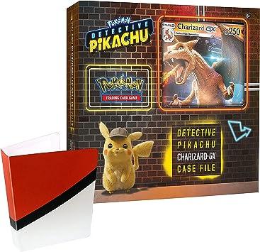 Pokemon TCG: Detective Pikachu Charizard-Gx Caja archivador + 6 Booster Pack + una tarjeta de