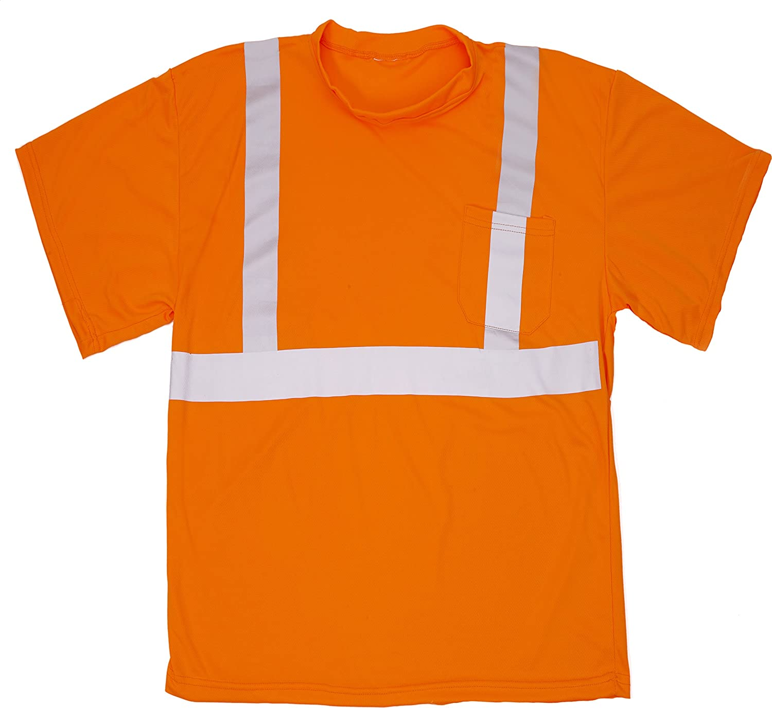 Orange XX-Large Mutual Industries 16357-1-5 High Visibility ANSI Class 2 Birdseye Mesh Tee with Chest Pocket and 2 Silver Reflective Tape