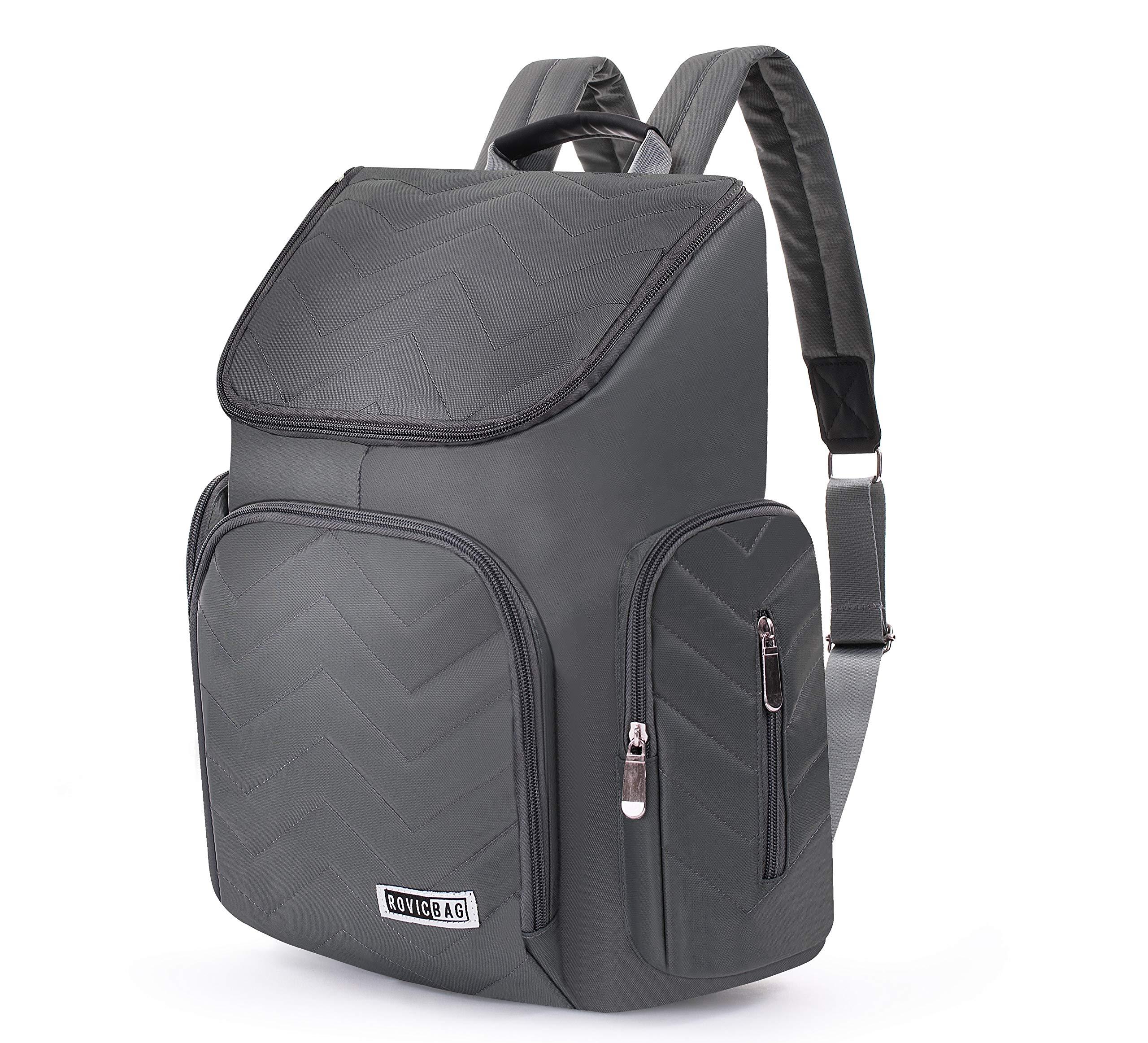Diaper Bag Backpack for Babys, Moms & Dads, Girls & Boys - Straps for Strollers, Luggage Belt - Waterproof, Wet Bag, with Pockets for Wipes, Bottles, Changing Mat Included - Unisex Grey Design