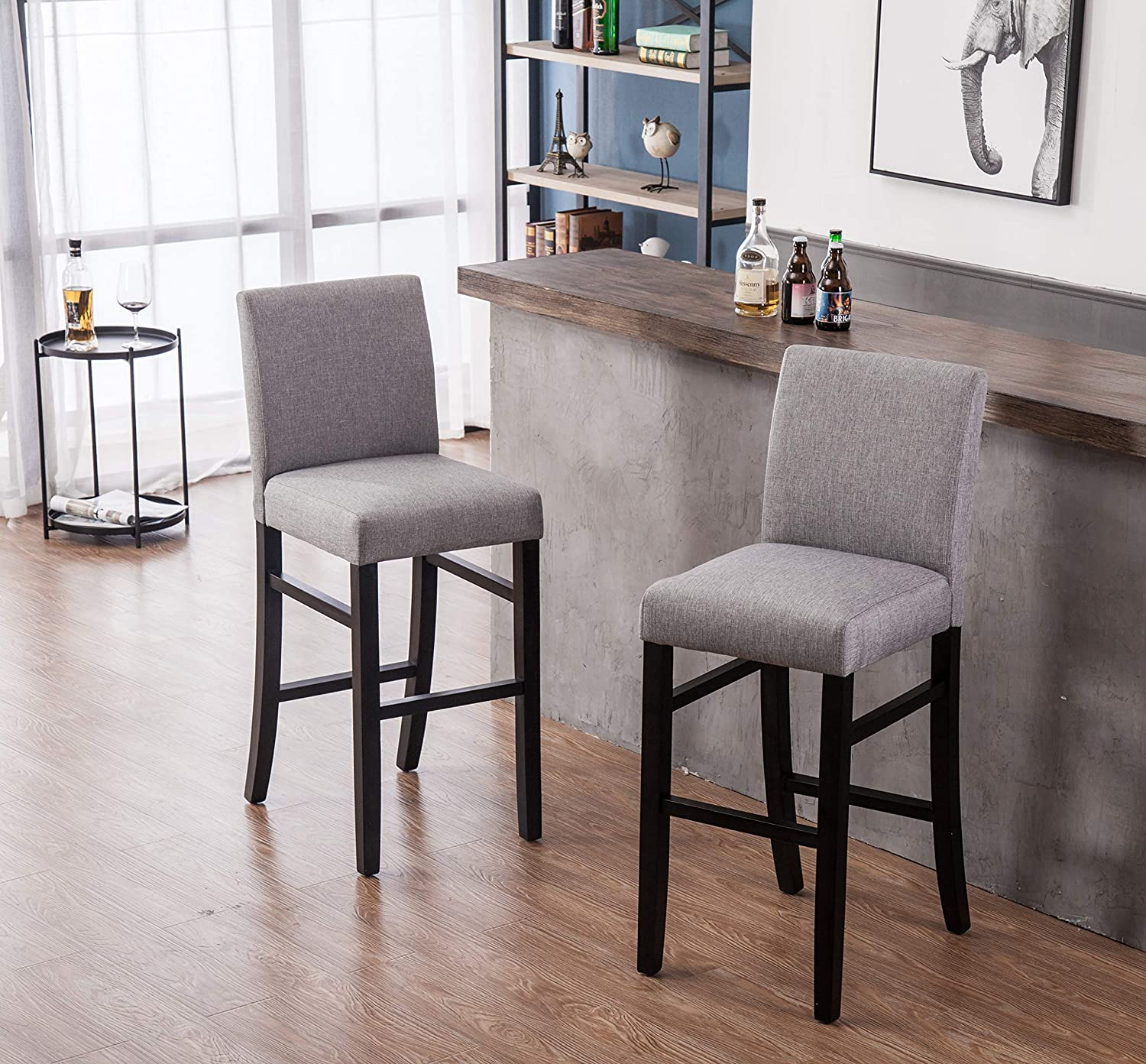 YEEFY Dining Chairs High Counter Height Side Chairs with Wood Legs, Set of 2 (Grey)