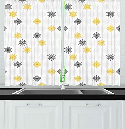 Prime Amazon Com Ambesonne Grey And Yellow Kitchen Curtains Interior Design Ideas Clesiryabchikinfo