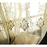 "Elleweideco Modern Golden / Antiquewhite 52""w X 84""l Sheer Window Curtain/drape/panel"