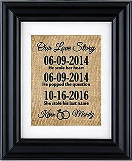 our love story signimportant date art important date signpersonalized engagement - Engravable Frames