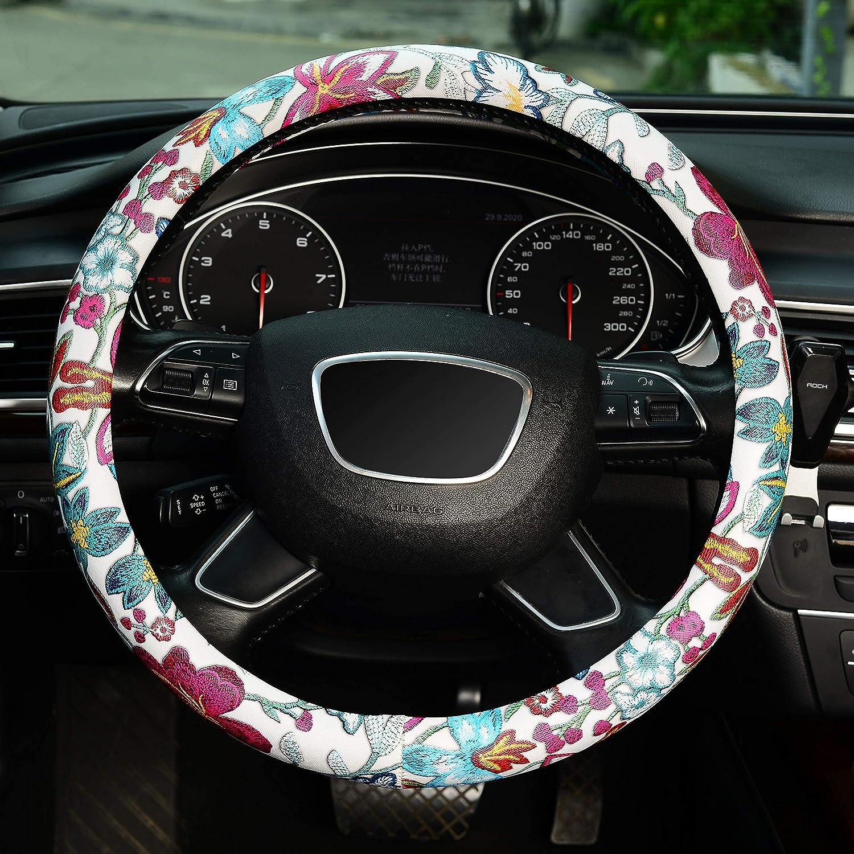 KAFEEK Green Flower Linen Cloth Steering Wheel Cover Anti-Slip Odorless Universal 15 inch