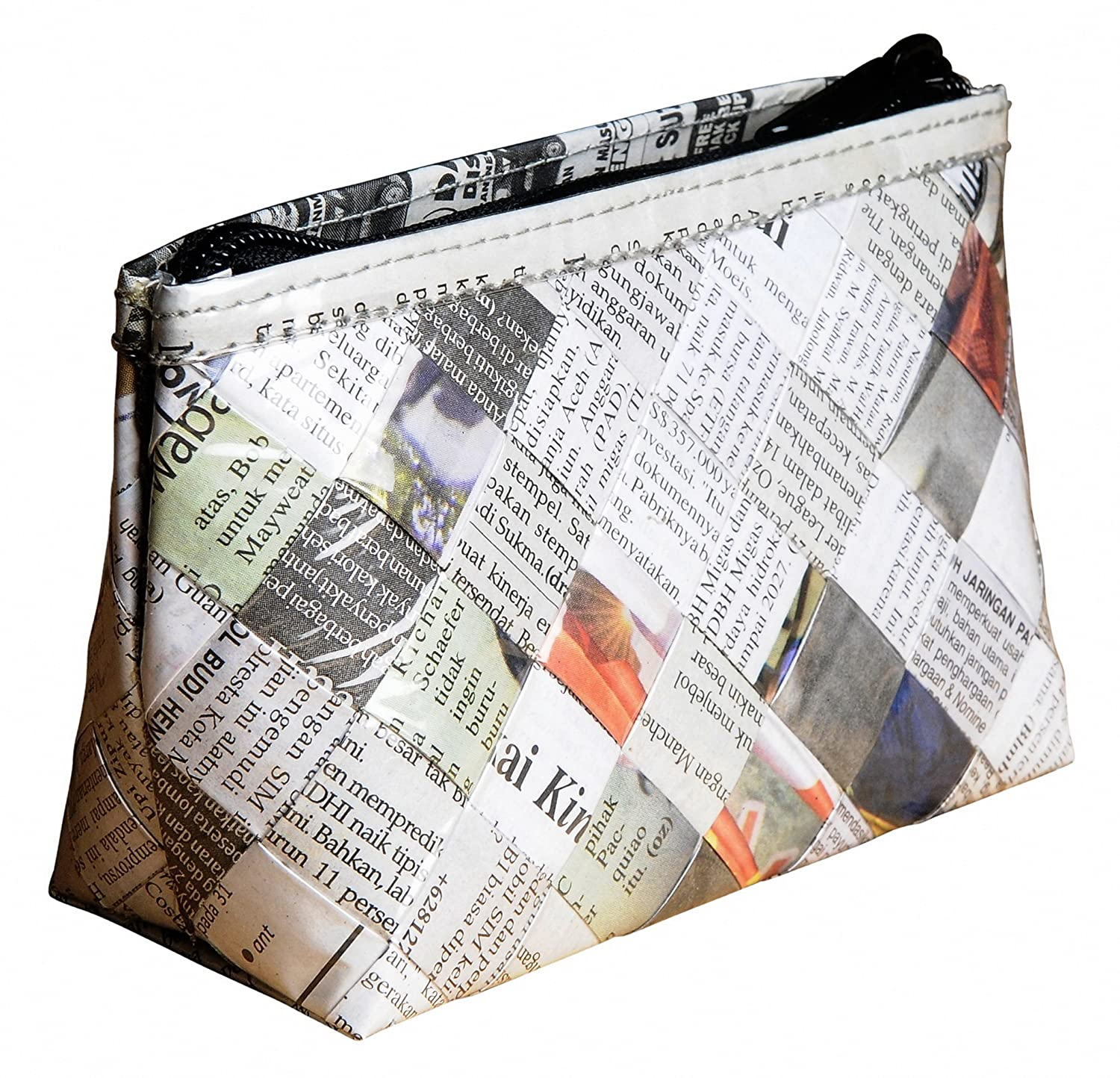 Makeup case made of newspaper - FREE SHIPPING - upcycled style eco friendly design vegan recycled reclaimed salvaged unique handmade gift gifts purse cosmetic cosmetics bag bags pouch organizer