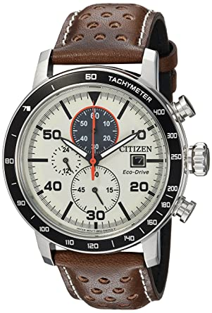 c504ee1ff Amazon.com: Citizen Men's 'Eco-Drive' Quartz Stainless Steel and Leather  Casual Watch, Color:Brown (Model: CA0649-06X): Watches