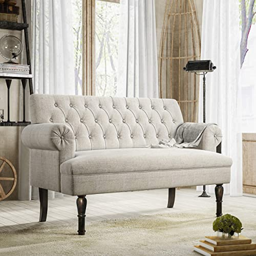 Merax Loveseat Settee Button Tufted Sofa Couch 58″ Linen Chesterfield Loveseat Scrolled Arm Loveseat High Leg Studio Bench