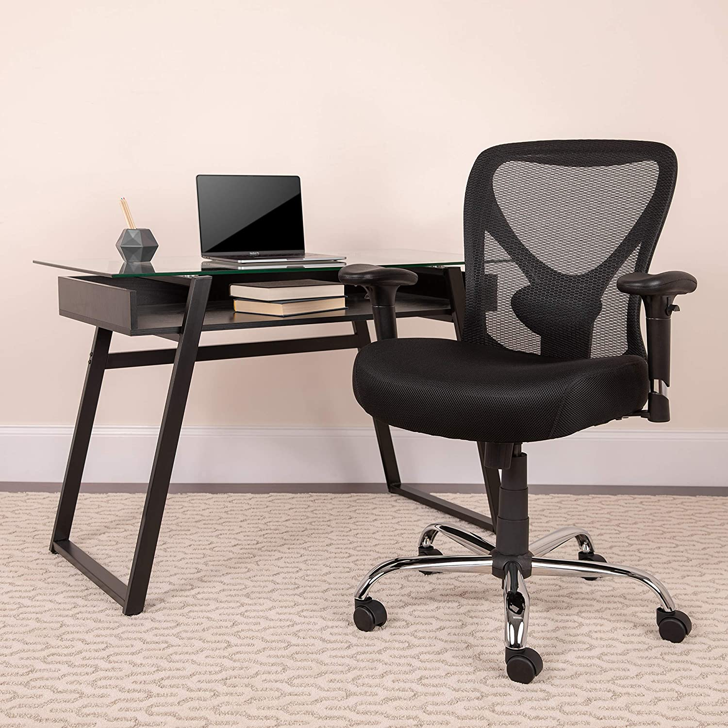 Rated Black Mesh Swivel Task Chair with Height Adjustable Back and Arms Flash Furniture Hercules Series Big /& Tall 400 lb