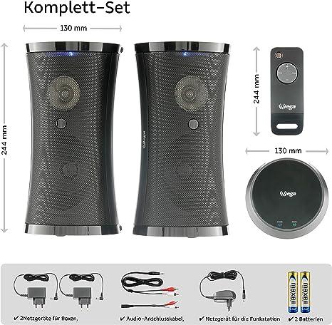 2 /× 5 W sinus vrais // 100 W PMPO // plug /& play // IP X3 // port/ée 100 m sans fil pour int/érieur et plein air Kit d/'enceintes sans fil de haut de gamme avec t/él/écommande et tr/ès beau son st/ér/éo