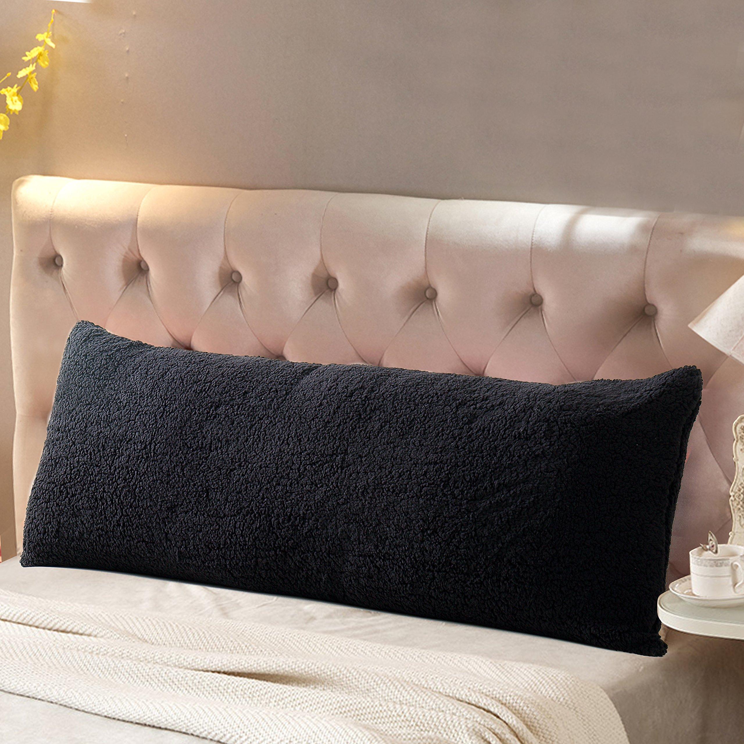"Reafort Ultra Soft Sherpa Body Pillow Cover/Case with Zipper Closure 21''x54'' (Black, 21""X54)"