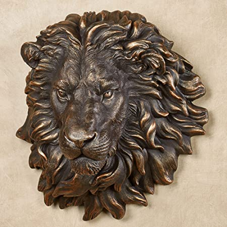 Amazon Com Touch Of Class Power And Presence Lion Head Wall Sculpture Bronze Gold Accenting Made Of Polyester Measures 17 Inches In Width 10 1 2 Inches In Diameter And 18 1 2 Inches In