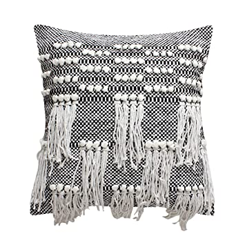 Buy Thymehome Nirvana Knots Cotton Decorative Accent Pillow Cover 18 X18 Inch Natural Online At Low Prices In India Amazon In