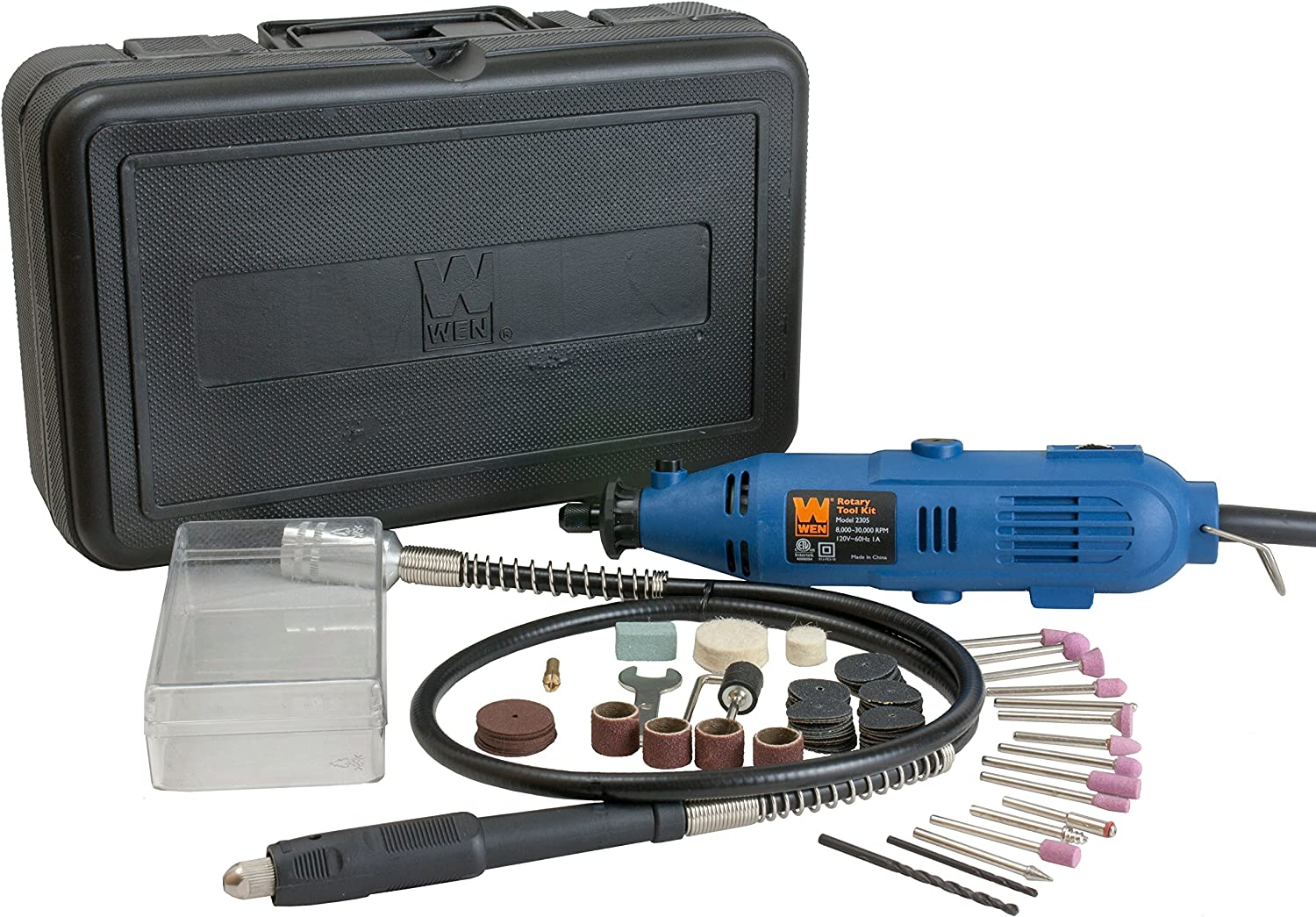 WEN 2305 Rotary Tool Kit with Flex Shaft - Power Rotary Tools -