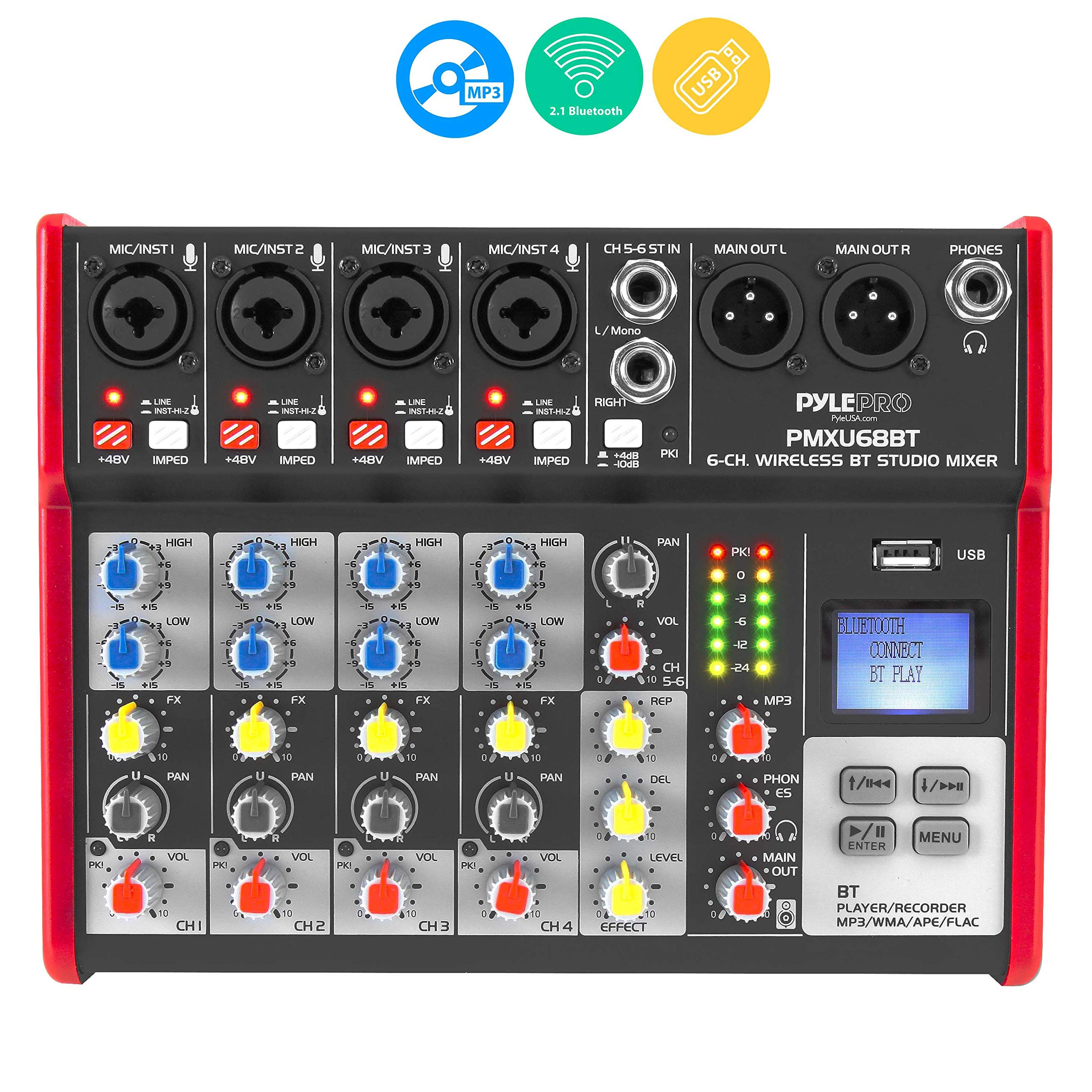 Studio Audio Sound Mixer Board - 6 Channel Bluetooth Compatible Professional Portable Digital Dj Mixing Console w/ USB Mixer Audio Interface - Mixing Boards For Studio Recording - PylePro PMXU68BT