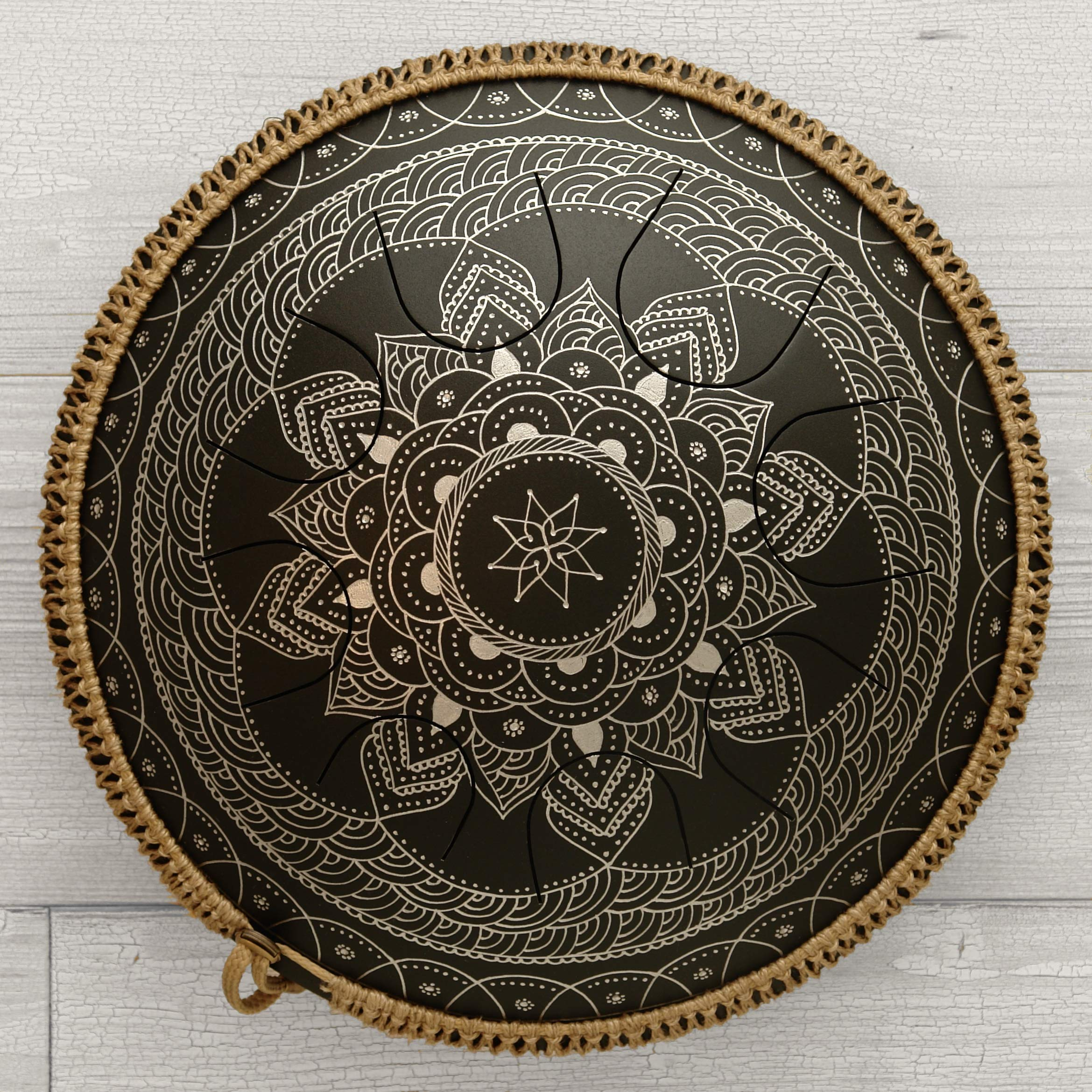 GUDA DRUM Freezbee Black Lotus with Rope Decoration FREE Mallets and Travel Bag. Best Pandrum, Tongue Drum by GUDADRUM