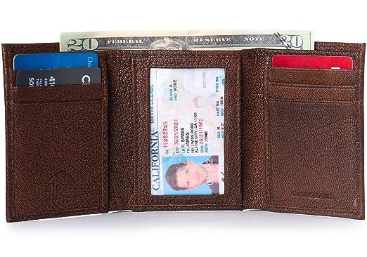 Alpine Swiss Mens Thin Bifold Wallet Leather Antique Brown Portemonnees