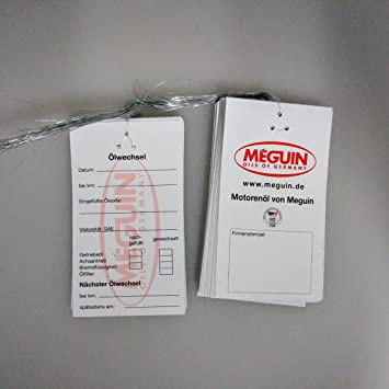 MEGUIN - 25 etiquetas colgantes para cambio de aceite