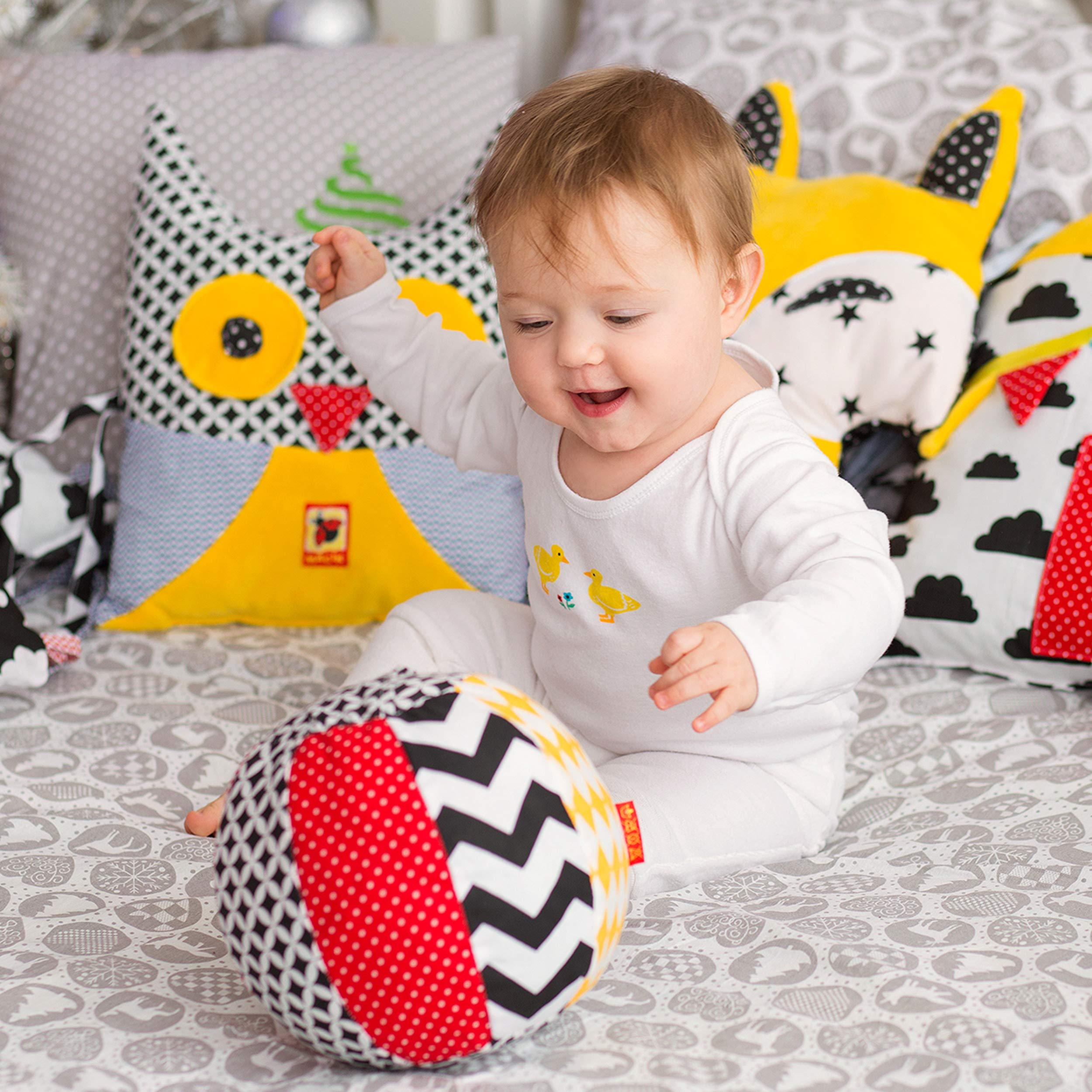 MACIK Soft infant toys SET 2 - Baby sensory toys Development toys 6-12 month baby toys - Baby ride on toys activity GYM toys - TAG CRINKLE toy baby RATTLE toys - Newborn toys baby 1 year old toys also by MACIK (Image #7)