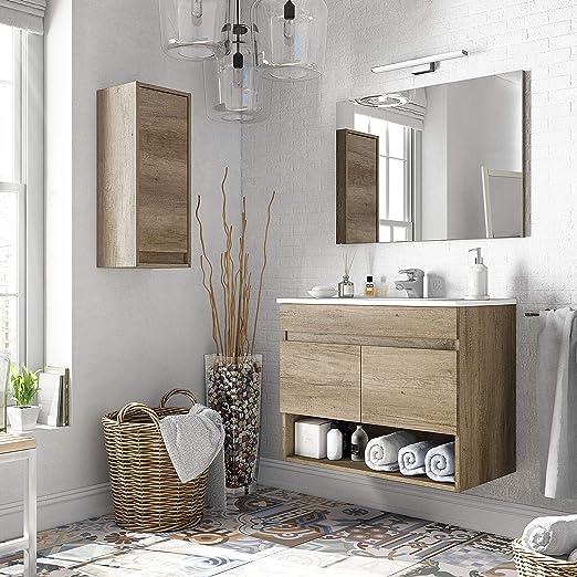 ARKITMOBEL 305110H - Mueble de baño Cotton con 2 Puertas y Espejo ...